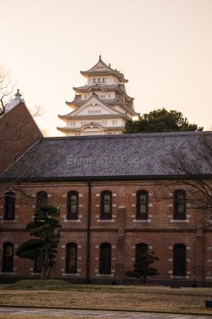 夕方の姫路城+赤煉瓦
